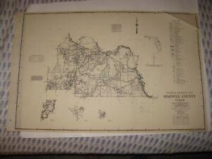 HUGE ANTIQUE 1955 SEMINOLE COUNTY OVIEDO SANFORD FLORIDA MAP HIGHWAY ROAD RARE N