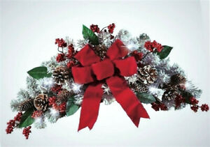 """Lighted Frosted Pine Christmas Floral Swag Holiday Wreath Wall Door Spray 25""""L"""