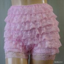 VINTAGE STYLE SILKY BABY PINK FRILLY NYLON FRENCH KNICKERS BLOOMERS Med