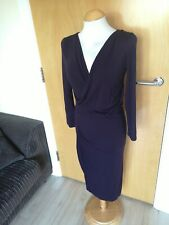 Ladies PHASE EIGHT Dress Size 12 Purple Stretch Smart Party Evening Wedding