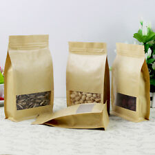 Kraft Paper Stand Up Pouch Self Seal Bag Matte Window For Food Tea Dried Fruit