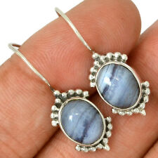 Blue Lace Agate 925 Sterling Silver Earrings Jewelry AE98133 134O