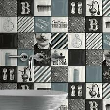 Muriva Vintage Salon De Coiffure Collage Motif Papier Peint Rétro Art