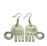 VINTAGE SPOON FORK ELEPHANT EARRINGS  Silverware Silverplate Jewelry