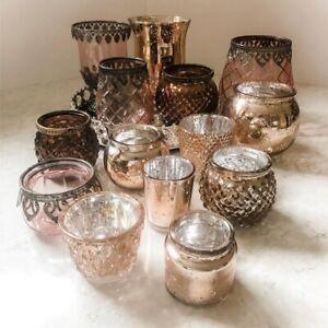 Rose Gold Pink Copper Mercury Glass & Metal Tea Light Candle Holder Wedding