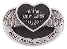 Harley-Davidson Women's Angel Heart Belt Buckle, Polished Silver HDWBU11502