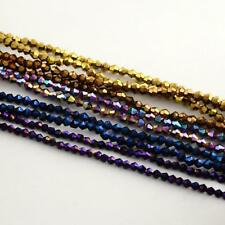 100 ELECTROPLATED GLASS BICONE BEADS 4mm - Rainbow Plated - Metallic Mix