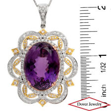 Estate Diamond 34.20ct Amethyst 14K Gold Large Pendant Enhancer 26.5 Grams NR