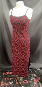 SDL Vintage Raven Black/ Red Flock Fitted  Dress Sm Deadstock