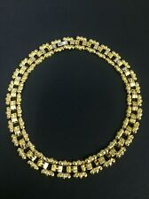 Vintage 70s Costume Jewellery Necklace Gold Coloured Metal Chunky Disco Glam!
