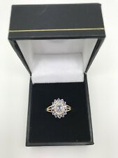 9ct Yellow Gold .02 Carat Diamond and Tanzanite Cluster Ring Size P