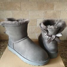 UGG MINI BAILEY BOW II GREY GRAY WATER-RESISTANT SUEDE BOOTS SIZE US 7 WOMENS