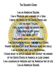 """US Army Creed 8"""" x 10"""" Printed COTTON Fabric Quilt Block  Applique Fabric"""