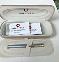 Sheaffer White Dot Mini Ball Pen New in Box Brush Chrome with Gold trim