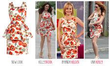 Kelly Brook New Look Imprimé Floral Peplum Moulante Ajustée Robe d'été taille 8