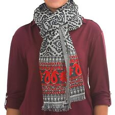 Lucky Brand - NWOT - Black/Gray/Red 100% Wool Geometric Floral Border Scarf