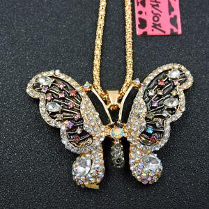 Women's White Enamel Crystal Butterfly Pendant Betsey Johnson Sweater Necklace