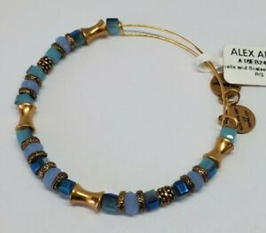 Alex And Ani Shells And Scales Gold Blue Glass Bead Expandable Bracelet New