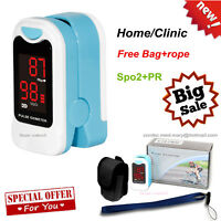 LED Finger Pulse Oximeter,Blood Oxygen SPO2 Monitor, Pouch+Lanyard, USA Stock CE