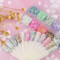 12 Colors Mixed Hexagon Nail Dust Sets Glitter Mermaid Sequin Gel Tip Decoration