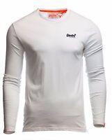 Superdry Mens Orange Label Vintage Embroidered T Shirt Long Sleeve White