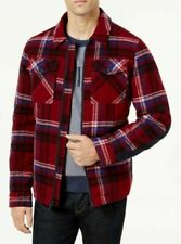 Tommy Hilfiger Mens Plaid Shirt-Jacket Red Large