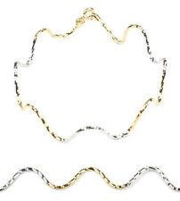 2-tone 18K gold wave Italian chain bracelet /BRL020001