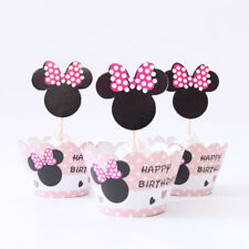 24 x  Mickey Minnie  Mouse Cupcake Cup Cake Decorating,Toppers Wrappers ,.