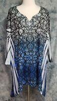 Catherines Womens sz 2X (22/24W) Blue Black Floral Jeweled Asymmetric Top