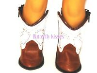 Brown  & White Cowboy-Girl Boots 18 in Doll Clothes Fits American Girl
