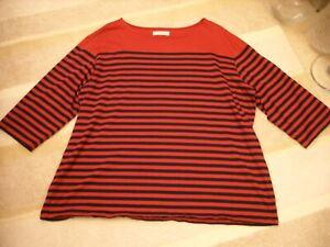 "Seasalt size 24 organic cotton ""Sailor"" top - burgundy/navy striped"