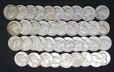 1951 S WASHINGTON QUARTERS G - XF PROBLEM FREE FULL ROLL 40 SILVER COINS