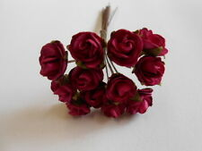 PK 10 FUSHIA TEA ROSE FLOWERS FOR CARDS AND CRAFTS