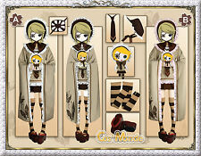 Japan Anime Vocaloid Hatsune Kagamine Rinn Cosplay Costume Deluxe Set