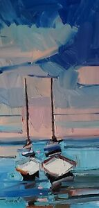 JOSE TRUJILLO Oil Painting IMPRESSIONISM CONTEMPORARY SAILBOATS BOATS SIGNED