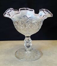 Fenton Clear Glass Vase Compote Ruffled Edge Accented Pink Chiffon  9120 YW