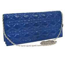 Auth Christian Dior Lady Dior Cannage Chain Shoulder Bag Blue Patent RK11617