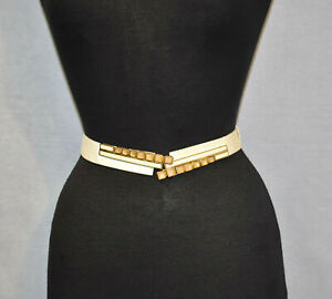 A6 JUDITH LEIBER Vintage Ivory Lizard Rose Quartz Buckle Adjustable Belt 24 - 36