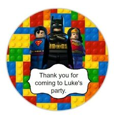 24 x 4cm Personalised Lego Heroes Batman Stickers Round Birthday Party Labels