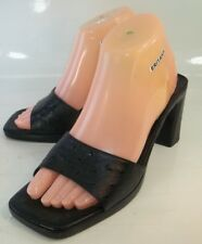 Via Spiga Womens Shoes Mules Heels US 8 M Black Leather Textured Slip-On Italy