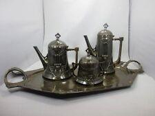 WMF Jugendstil Tee & Kaffeekanne + Zucker auf Tablett A. Mayer Britannia Metall