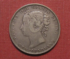 1900 NEWFOUNDLAND 50 CENTS - QUEEN VICTORIA, STERLING .925 SILVER, VERY NICE!