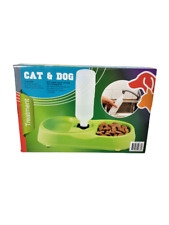 Pet Feeder Food Dog Cat Puppy Water Bowl Dish Water Dispenser No Spill 2 In 1