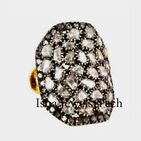 Natural Diamond Polki Rose Cut Diamond 18k Gold Sterling Silver Victorian Ring