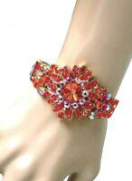 Orange & Aurora Borealis Cluster Bangle Bracelet Pageant, Bridal, Drag Queen