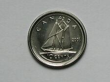 Canada 2001-P 10 CENTS Coin - BU UNC Strike Through Numismatic Collectors Strike