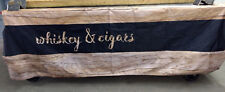 LARGE Whiskey & Cigars Garage Workshop Man Cave PVC Banner Sign Black & Wood