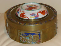 Vintage Oriental Chinese Round Cloisonne Brass Box With Porcelain Lid