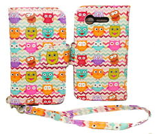 Cute Owl Chevron Wallet Leather Case for LG Optimus Fuel L34C / Zone 2 kickstand