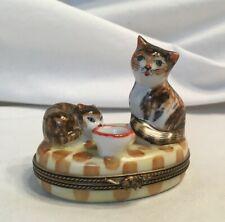 Limoges Cat and Kitten Trinket Box